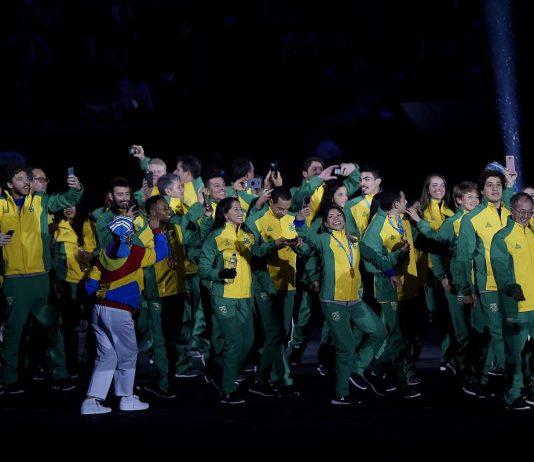Parte da delegação na festa de encerramento dos Jogos Pan Americanos em Lima (Foto: COB)