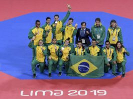 Equipe brasileira de Taekwondo em Lima 2019 (Foto: Washington Alves/COB)