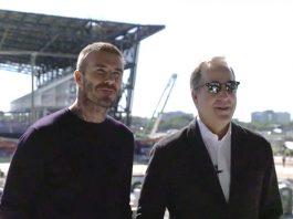 Beckham e seu sócio, Jorge Mas, visitaram as obras do estádio em Fort Lauderdale, onde o time vai jogar as partidas como mandante (Foto: Reprodução da TV – Inter Miami Communications)