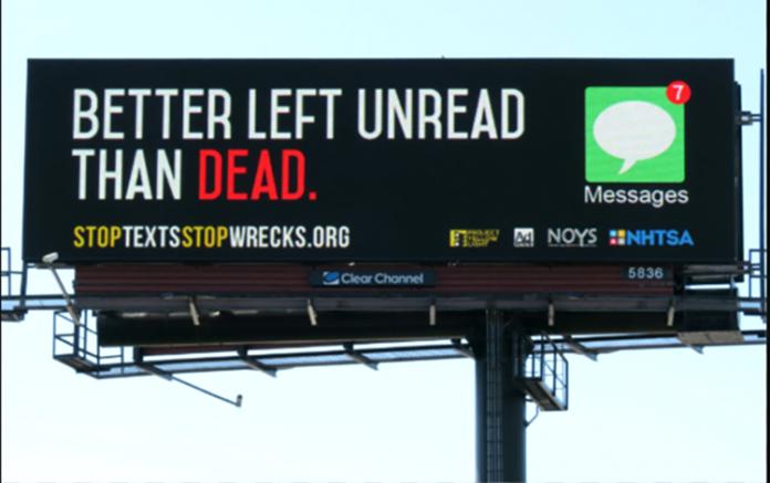 As campanhas de esclarecimento alertam sobre os riscos de enviar textos enquanto estiver dirigindo um veículo (Foto: Reprodução)