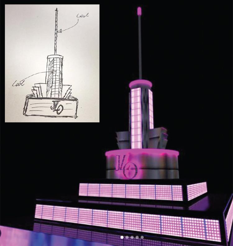 Desenho feito por Kley para a entrada de JLO no Superbowl (antes e depois)