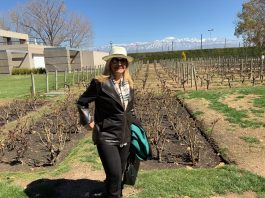 Marta Ramos na vinícola de Mendoza
