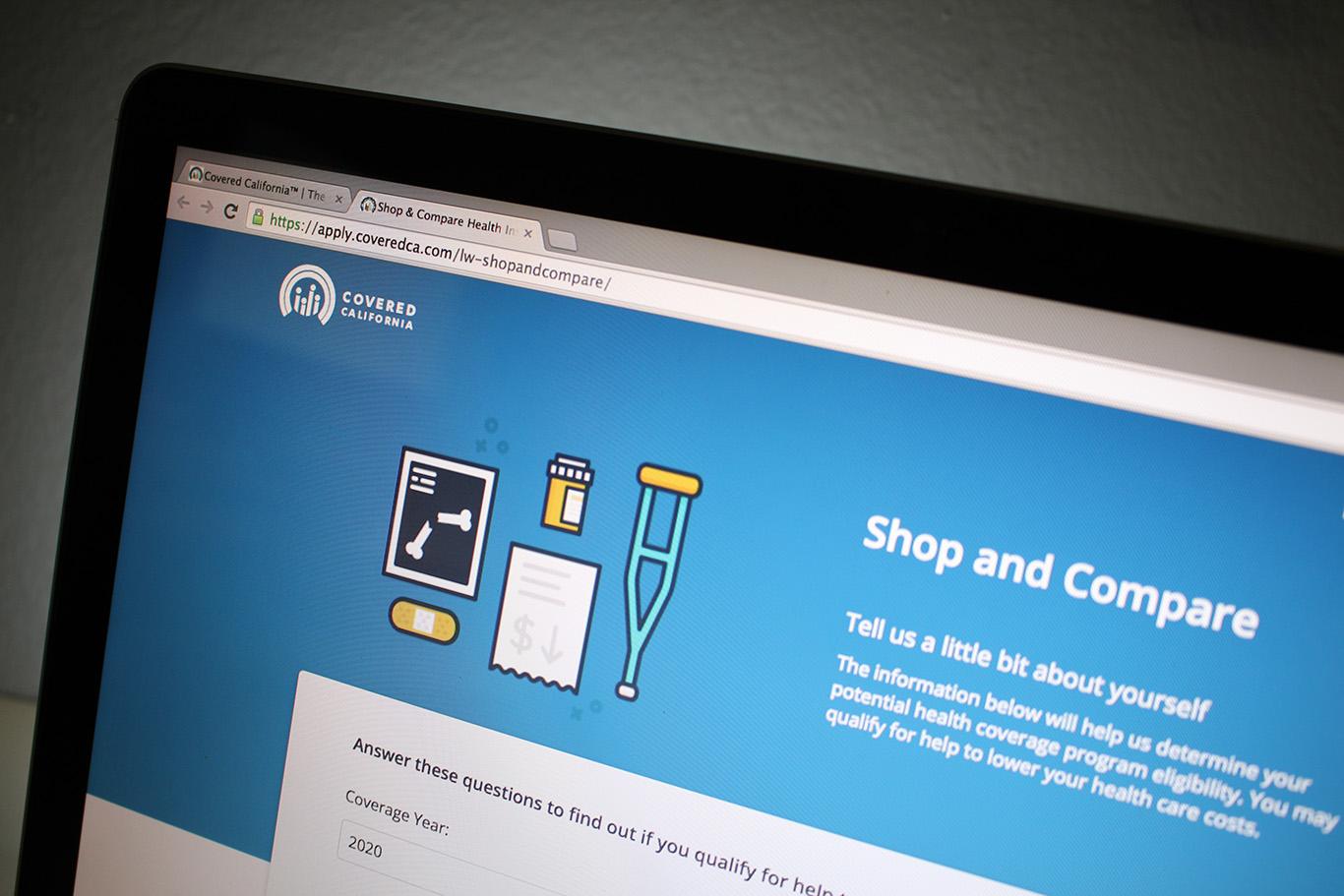 Ferramenta no site Covered California calcula preços personalizados (Foto: Gabriela Egito)