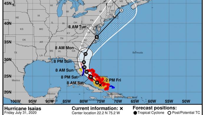Captura de tela NHC, monitoramento do furacão Isaías