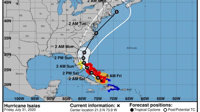 Monitoramento furacão Isaías (captura de tela NHC)