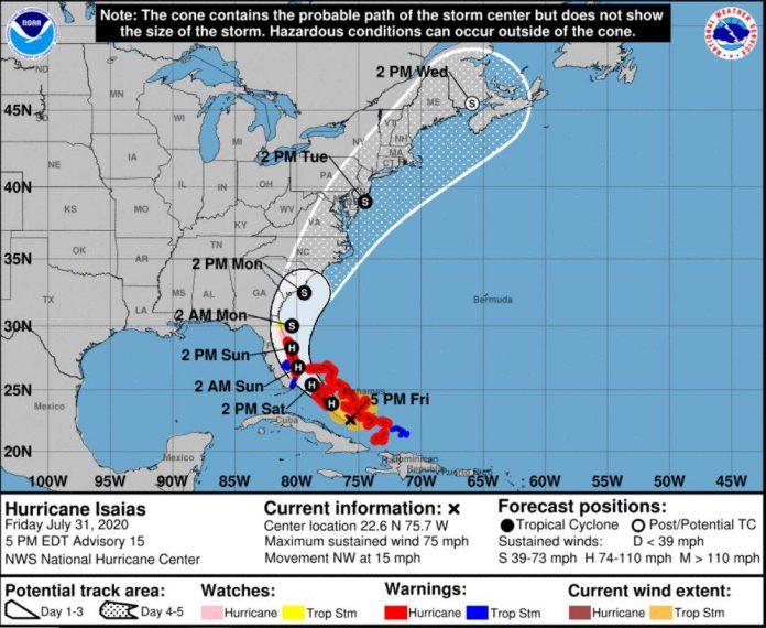 Captura de tela NHC, monitoramento do furacão Isaías.