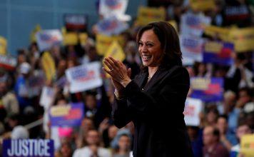 Kamala Harris durante sua campanha na corrida pela indicação presidencial democrata de 2020 em Los Angeles (foto: Reuters / Mike Blake)