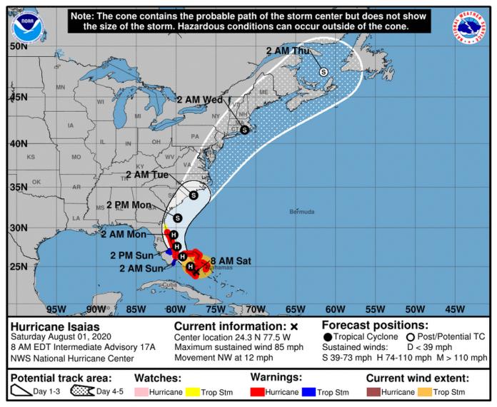 Hurricane Isaías, tela de monitoramento NHC