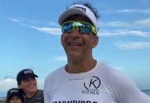 Alessandro Medeiros após completar a corrida na Flórida