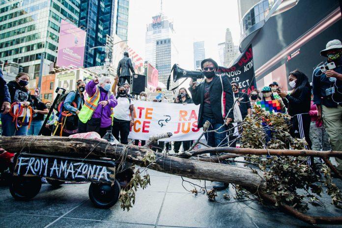 A artista plástica Adriana Varella da ANARKOARTLAB trouxe do Brooklyn até Manhattan, a pé, uma árvore queimada representando a Amazônia (foto: Tais Aquino)