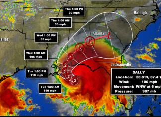 Sally se aproxima da costa norte-americana (imagem: weather channel)