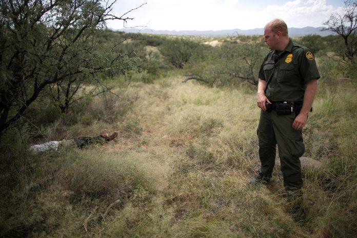 Agente do CBP localiza corpo de um imigrante da Guatemala no deserto do Arizona em 2018 (foto: rEUTERS/Lucy Nicholson)