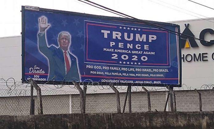 Um do cartazes instalados na Rua Sete de Setembro, próximo ao GV Shopping (foto: cortesia)