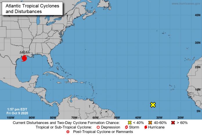 Segundo o NHC, o furacão pode atingir a mesma localidade que o furacão Laura, em agosto (foto: NHC)