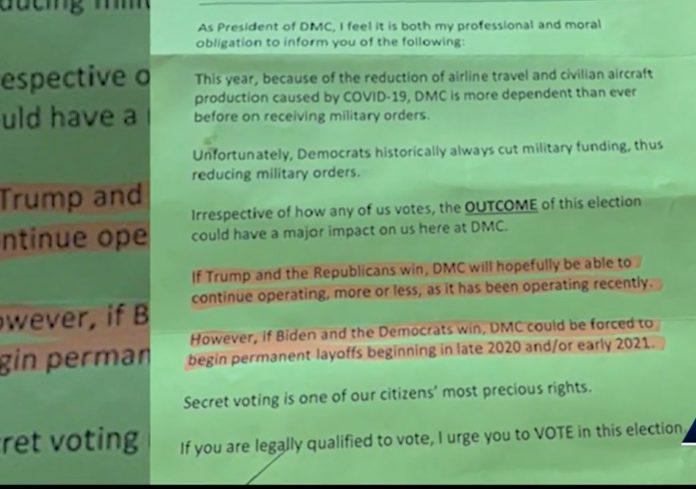 Carta enviada aos funcionários foi obtida pela WESH TV, afiliada à ABC Orlando (foto: reprodução)
