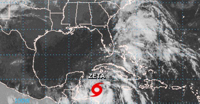Tempestade tropical Zeta se formou no mar do Caribe (foto: weather channel)