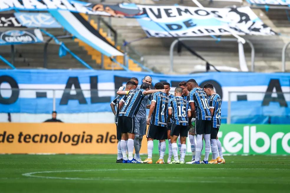 Jogadores do Grêmio se reúnem antes de enfrentar o Cuiabá (Foto: Lucas Uebel/Grêmio)