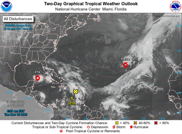 National Hurricane Center (NHC) monitora a evolução de Theta e Iota no Atlântico