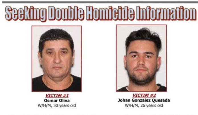 As vítimas foram identificadas como Osmar Oliva, 50 e Johan Gonzalez Quesada, 26 (foto: Miami-Dade Homicide Bureau)