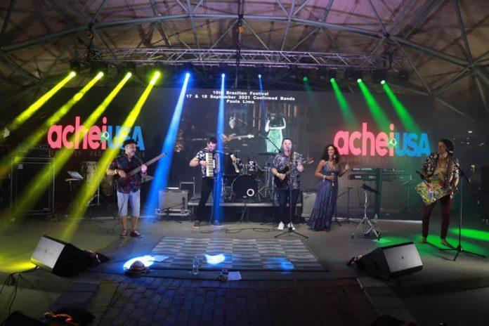 A banda de forró do sul da Flórida Cravo e Canela se apresentou no sábado, 13 (foto: Demetrius Borges/AcheiUSA)