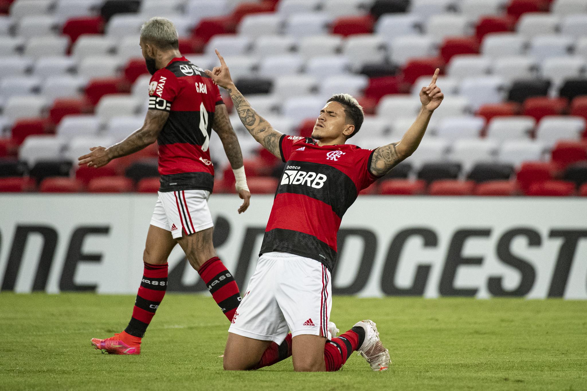 O centroavante Pedro abriu o placar no Maracanã no empate do Flamengo com a LDU, do Equador (Foto: Alexandre Vidal / CRF)