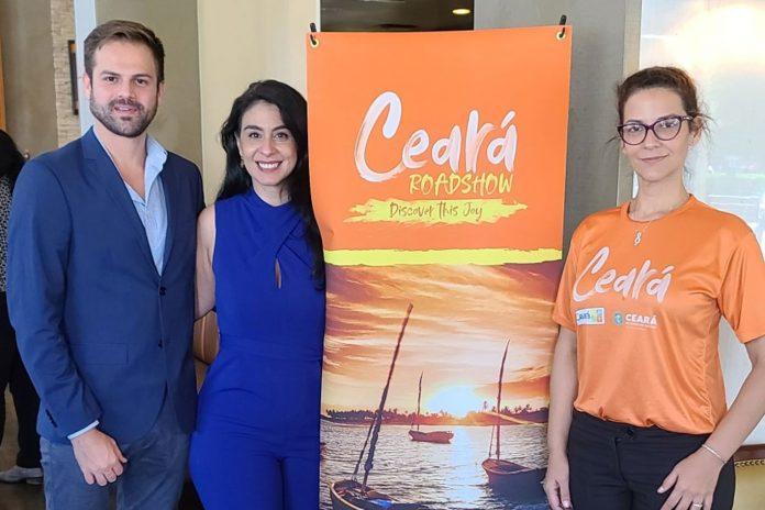 Thiago Marques, Luciana Fernandes e Helena Pontual apresentaram o Ceará para convidados na Flórida