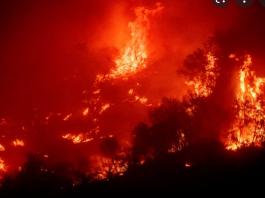 Chamas foram causadas pela queda de raios, segundo as autoridades (foto: YouTube)