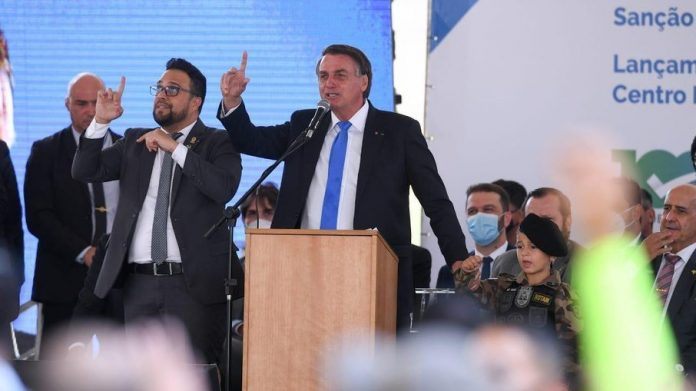 Presidente Jair Bolsonaro discursa em evento realizado na capital mineira (Foto: Reprodução, iG Minas Gerais)