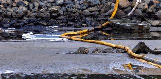 Um trabalhador é refletido na água de um estuário após um grande derramamento de óleo na costa da Califórnia chegar à costa em Huntington Beach, Califórnia (Foto: REUTERS/Mike Blake)