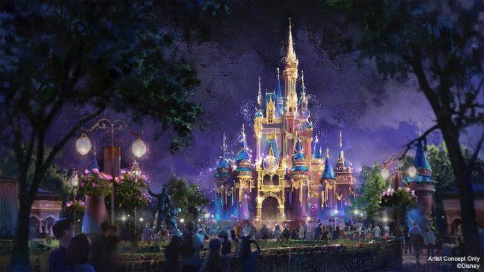 Conceito artístico do castelo da Cinderela decorado para os 50 anos (Foto: Disney)